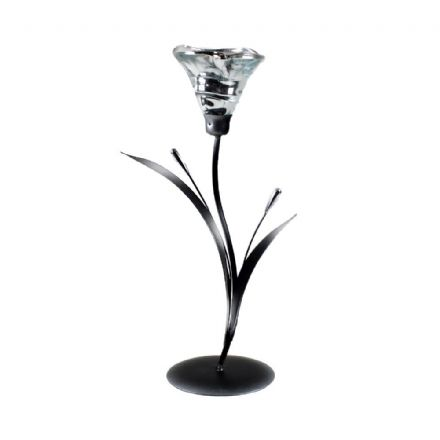 Glass & Metal Lily Tea Light Candle Holder Table Centrepiece